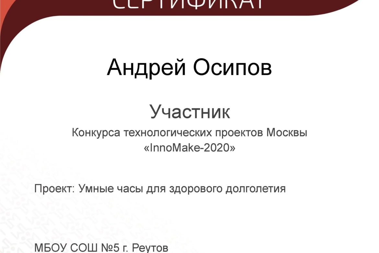 Конкурс InnoMake-2020, участник